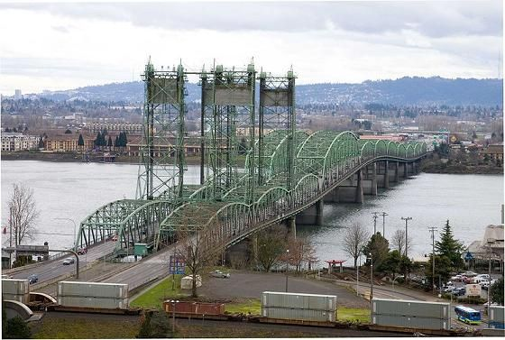 Vancouver Bridge ~ Oregon & Washington ~ It runs between Portland, Oregon & Vancouver, Washington. The state line is right in the middle of the Columbia River.