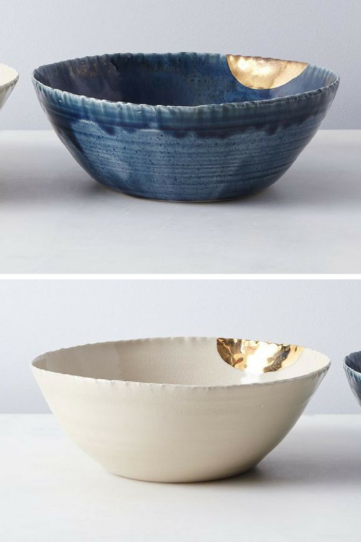 Gold Dipped Serving Bowls