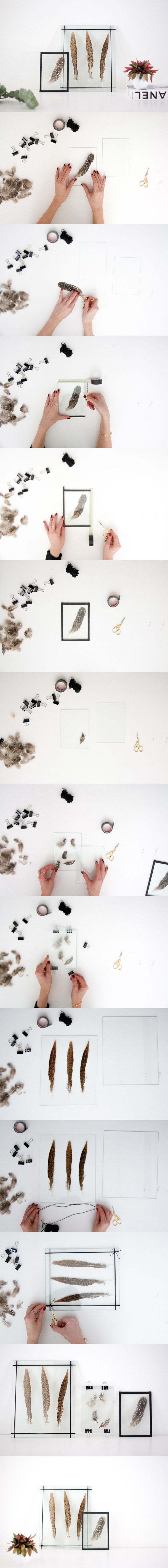 Three options to create those double glass frames to display flowers, leaves or feathers in a super airy and elegant way