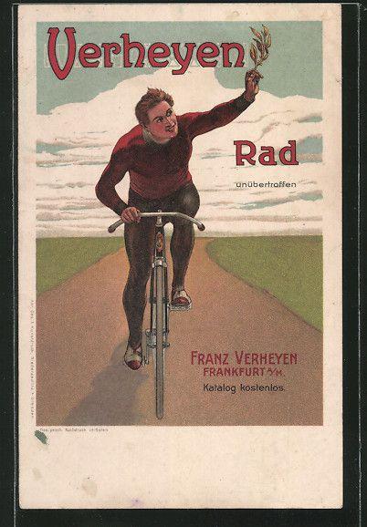 Lithographie-Frankfurt-Reklame-Franz-Verheyen-Fahrrad-Pneumatik-Naehmaschinen