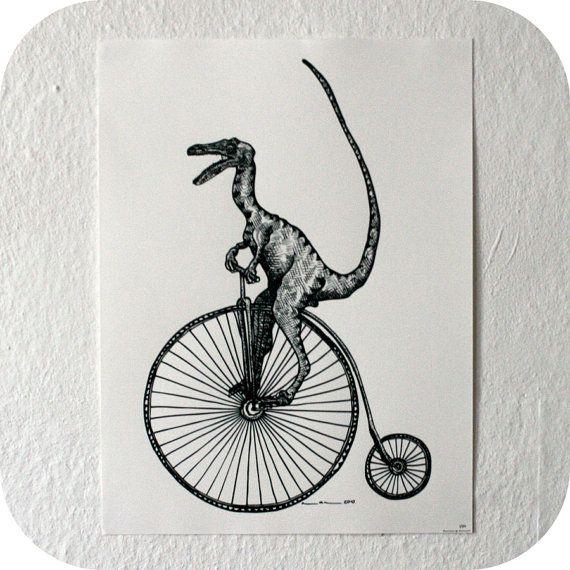 Velociraptor on a velocipede print from Etsy