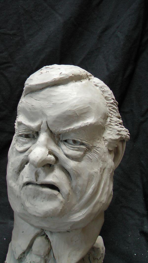 Resin Composite #sculpture by #sculptor Richard Austin titled: 'Bust of John Prescott (Satyrical Caricature sculpture)'. #RichardAustin