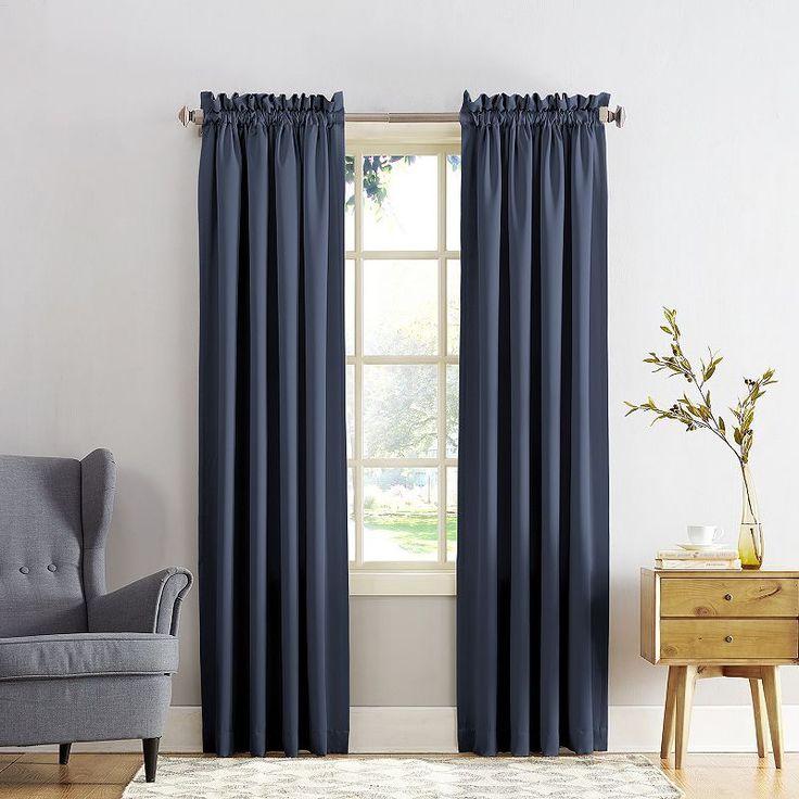 Sun Zero Gramercy Room Darkening Curtain, Blue