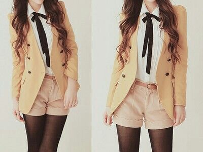 Blouse with Beige Blazer and Light Pink Shorts