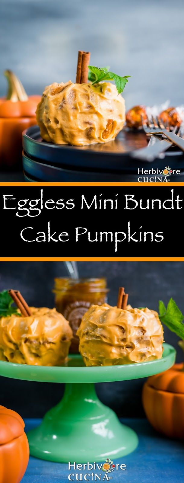 Herbivore Cucina: Eggless Mini Bundt Cake Pumpkins...Planning a Fall party? You need these mini bundt cakes bursting with the flavor of PUMPKINS!!   #ad #worldmarket @worldmarket #sponsored #fallfavorites #allthingspumpkin #pumpkinspiceandeverythingnice #halloween #holidayspecial #worldmarkettribe #tasteoffall #egglessbaking