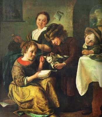 "Children Teaching the Cat to Read, Jan Steen, 1663, oil on panel, 18"" x 14"", held by Kunstmuseum, Basel, Switzerland."