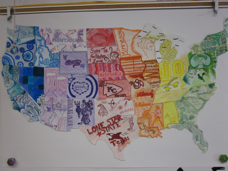 create a large poster board version of a US map and then cut out ...
