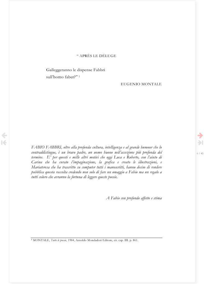 Pagina 3 del libro FABIO FABBRI - Poesie Immortali - a cura di Carina Aprile