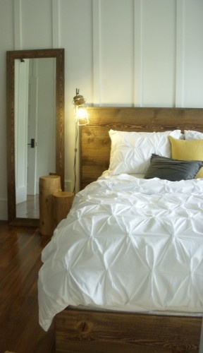 Board And Batton Master Bedroom With Bannack Brown Ghostwood Bed And Floor Mirror Home Sweet