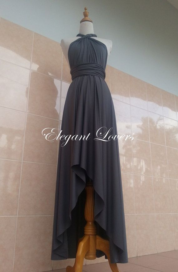 Dark Grey Front Short Back Long Dress Wedding by Elegantlovers, $79.90