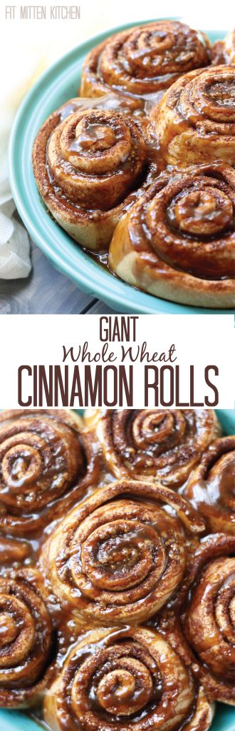 Healthier Whole Wheat Cinnamon Rolls, made with clean ingredients like coconut sugar and coconut oil! [Fit Mitten Kitchen]