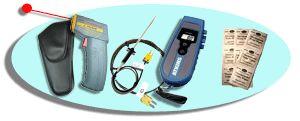 http://www.termometer.se/Egenkontroll-Livsmedel/TempSet-Bla.html  TempSet Blå  Använd IR-termometern CIR 350 för att scanna av yttemperaturen vid ankomst av livsmedel och i kylar och frysar. Använd sedan Econotemp II med insticksgivare för noggrannare undersökning av kärn- temperaturen. Koppla till den medföljande luft/trådgivaren för att mäta temperaturen mellan kartonger och på svårtillgängliga ställen. Gör rent insticksgivaren med 200 st medföljande ProbRent. Trådgivare medföljer...