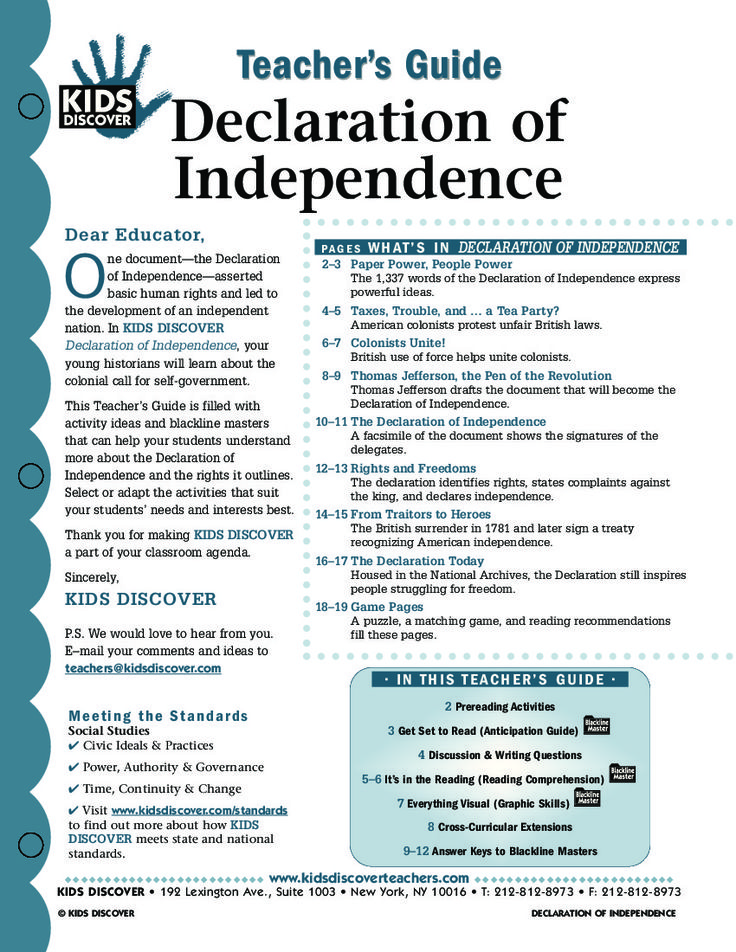 This free Lesson Plan for Kids Discover the Declaration of Independence provides a roadmap for teaching kids about this defiant time in American History, and the document that defined the birth of a new nation in 1776.