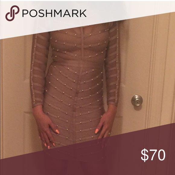 Khaki embellished bandage dress Khaki embellished sheer/mesh bandage dress Dresses
