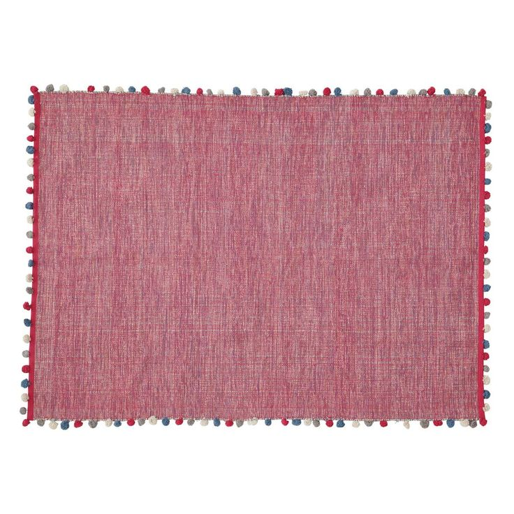 Fuchsiaroze katoenen POMPON tapijt 120 x 180 cm