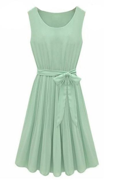 Mint Green Sleeveless Pleated Belt Chiffon Dress - Sheinside.com