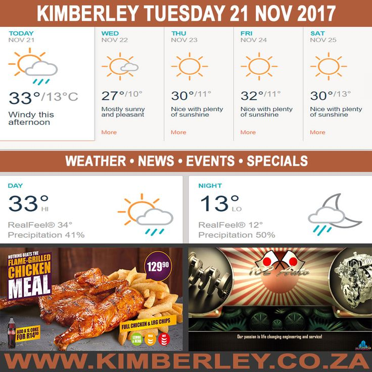 KimberleyToday, Tuesday 21/11/2017 - http://www.kimberley.org.za/kimberleytoday-tuesday-21112017/?utm_source=PN&utm_medium=Pinterest+History+KImberley.org.za&utm_campaign=NxtScrpt%2Bfrom%2BKimberley+City+Info - #KimberleyToday, Tuesday 21/11/2017 The weather forecast for today is; Partly sunny with a shower in places & windy this afternoon, becoming partly cloudy with a shower in spots later on.  Max UV Index:13 Fire Danger:High Thunderstorms:20% Rain: 1