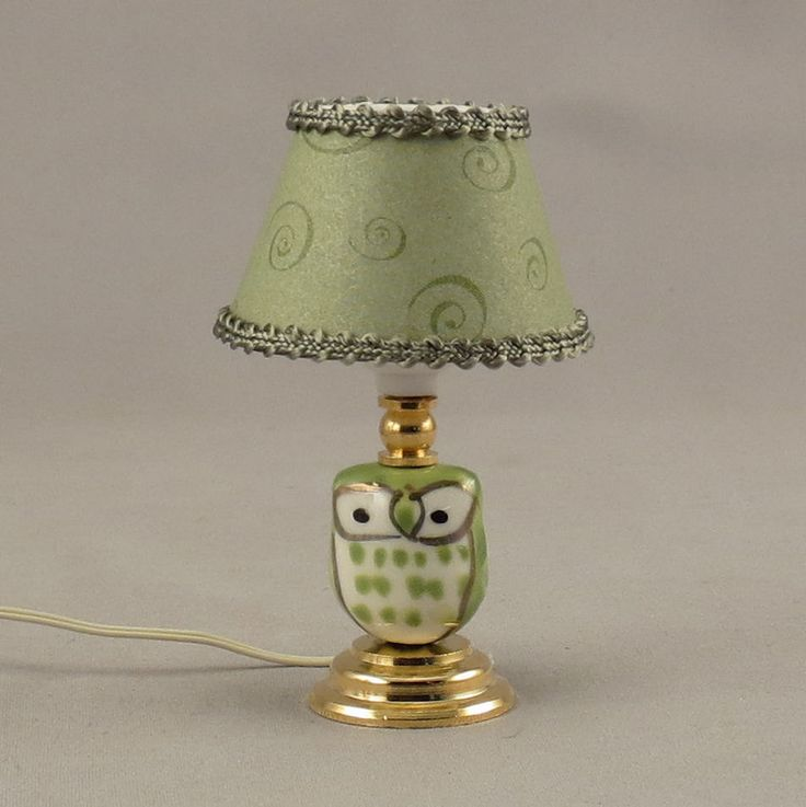 Dollhouse Miniature Lighted Ceramic Green Owl Table Lamp by miniholiday on Etsy https://www.etsy.com/listing/247202398/dollhouse-miniature-lighted-ceramic
