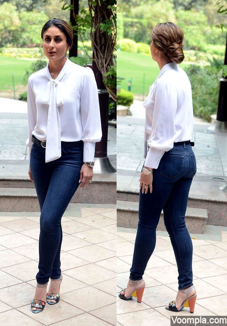 Kareena Kapoor looks sexy in tight jeans by J Brand, white Neha Taneja top and Fendi heeled sandals. via Voompla.com