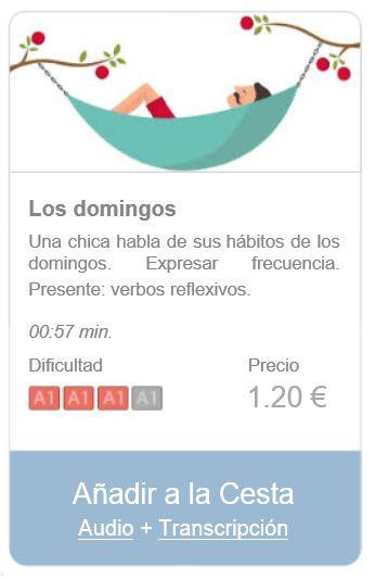 Audio (+ transcripción) de nivel inicial para practicar español. Expresar frecuencia. Presente: verbos reflexivos. Resumen: una chica habla de sus hábitos de los domingos.