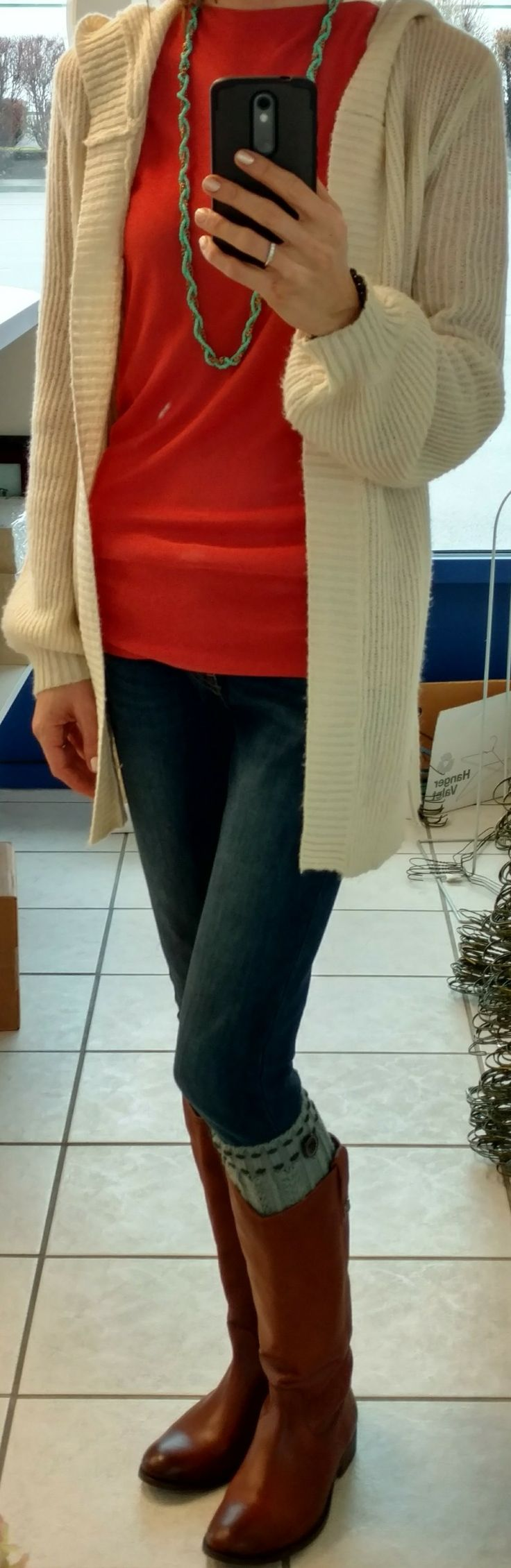 Ann Taylor shirt, Mudd bishop sleeve cardigan, Levi's 535 Super Skinny jeans, Frye Melissa boots