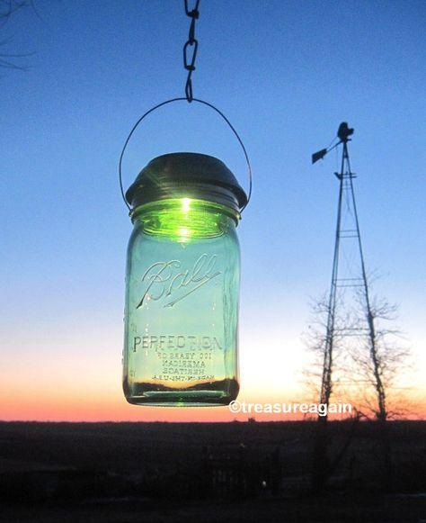 Green Solar Mason Jar Light 4x Brighter Solar Lid by treasureagain, $25.00