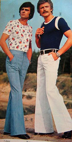 In the 70s real men wore flared trousers and flowery t-shirts. How cool do these guys look?