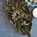 Crispy Kale with Lemon-Yogurt Dip. Roast healthy kale with extra-virgin olive oil and garlic until it's crunchy for an alternative to packaged, dehydrated veggie chips.