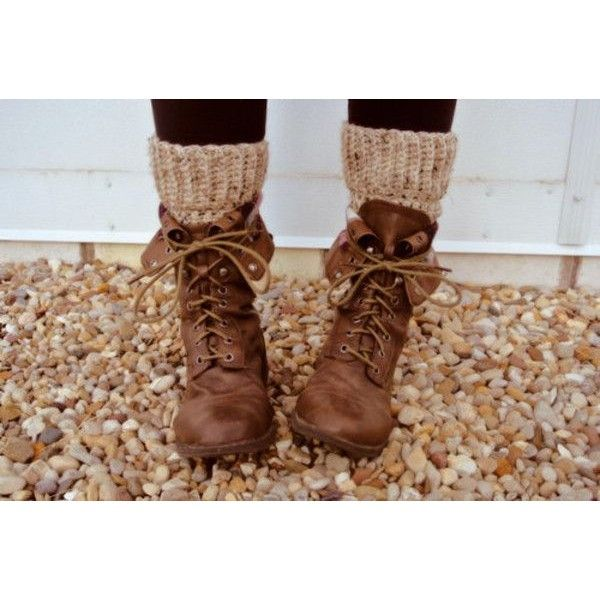 Shoes: boots socks lace up brown ankle boots rustic hippie hipster combat boots tumblr hipster style found on Polyvore