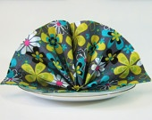 Reversible Cloth Dinner Napkins- Set of 4- Michael Miller Lagoon Far Out Floral Grey with Teal
