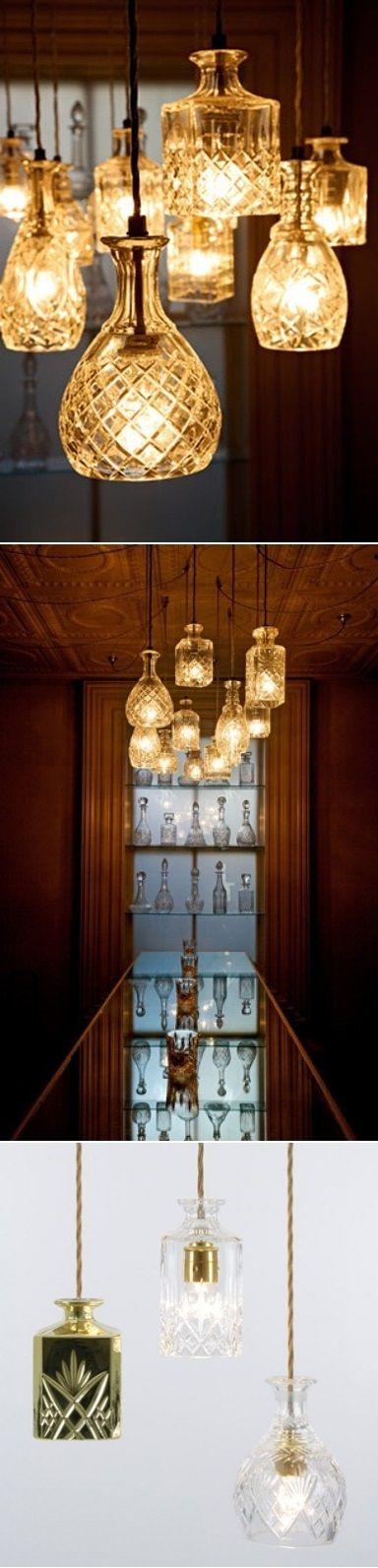 DIY Crystal Decanters As Pendant Lights