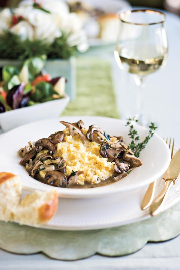 Ladies' Lunch - Happiest Christmas Menus Ever - Southernliving. Recipe:Citrus Salad  Recipe:Ragoût of Mushrooms With Creamy Polenta (pictured)  Recipe:Creamy Polenta  Recipe:Bacon-Wrapped Water Chestnuts  Let these outstanding recipes, along with the warmth and laughter of these friends, resonate with you and your family.  Ragoût of Mushrooms With Creamy Polenta is a hearty meatless main course. Don't let polenta scare you―it's just the Italian version of grits.