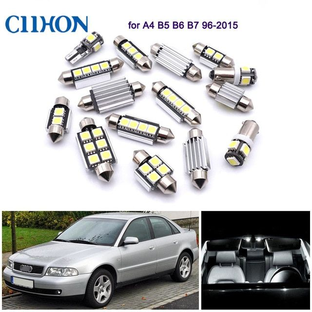 9pcs Led Lights Bulbs White Car Interior Lamp Canbus Dome Vanity Mirror Reading Lights For Audi A4 Rs4 S4 B5 B6 B7 B8 96 Led Light Bulb White Car Car Interior