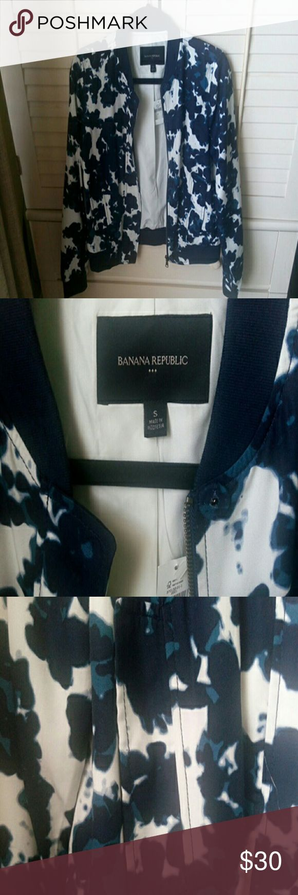 Banana Republic bomber jacket new with tags Blue and white print Banana Republic Jackets & Coats Utility Jackets