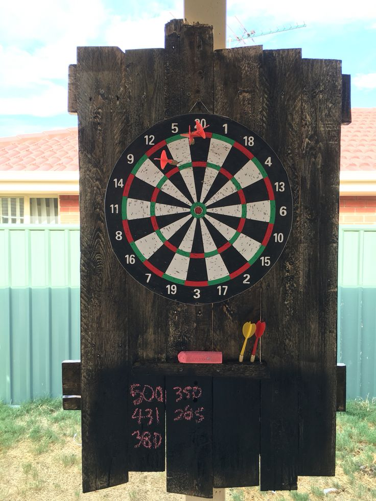 Pallet Dartboard backing $6 Dartboard from Kmart, smashed up Pallet and $11 Bondall Stain & Varnish from Bunnings.  Bit of black spray paint under the dart holder over the Stain to act as a chalkboard and done!  Will move it in to the Man cave once it's ready.