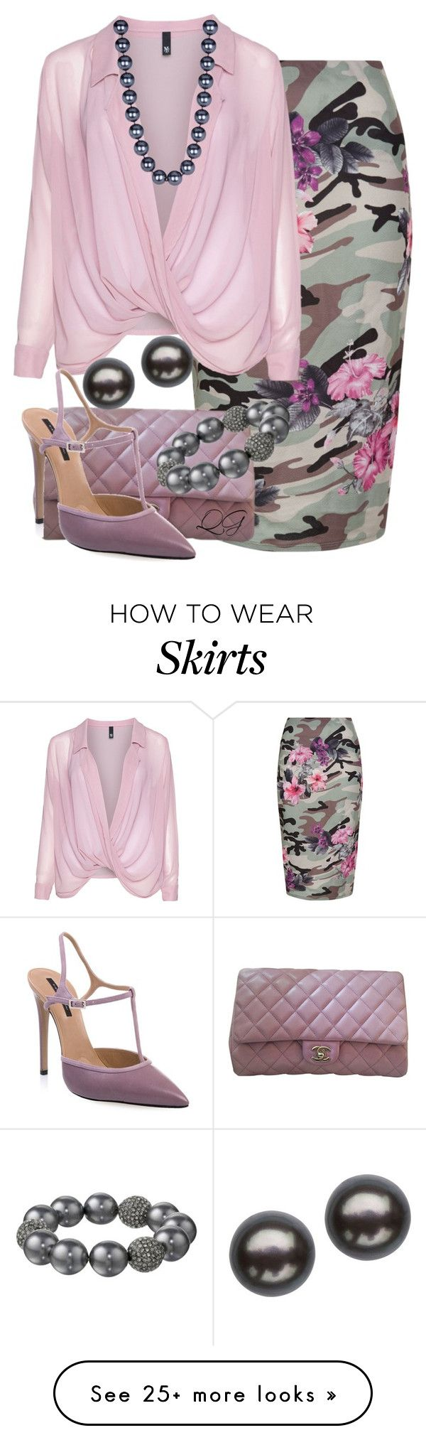 """~~ PENCIL SKIRT ~~"" by queenofthegypsies on Polyvore featuring New Look, Manon Baptiste, Chanel, Diego Dolcini, Kenneth Jay Lane and Honora"
