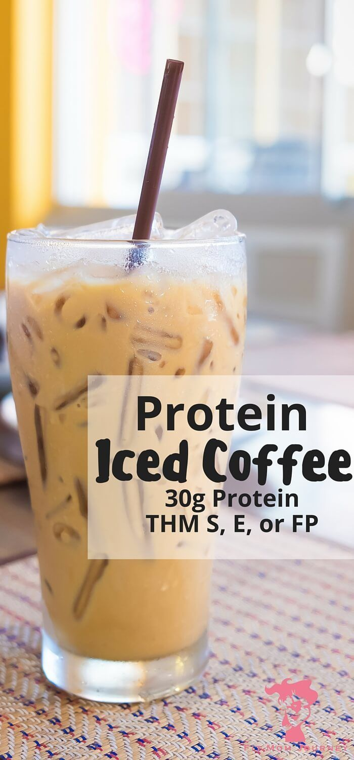 What could be better than a refreshing iced coffee that packs a 30g punch of protein + powerhouse collagen - without changing the taste? This Iced Protein Coffee is THM S, E, or FP or doesn't disappoint! - Keto, Trim Healthy Mama, Sugar Free Fit Mom Journey fitmomjourney.com...