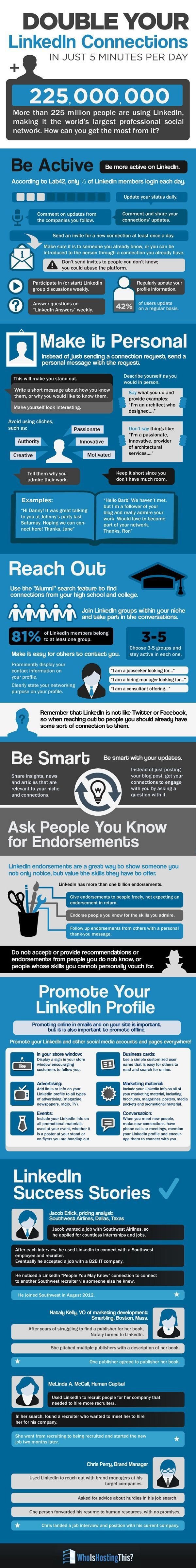 Double your Linkedin connections in just 5 minutes per day, by whoishostingthis.com