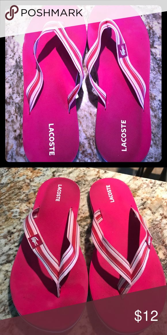 Lacoste Pink flip flops!!!! Lacoste Pink flip flops...slight signs of wear on bottoms...otherwise great shape!!! See pics!!!! Lacoste Shoes Sandals