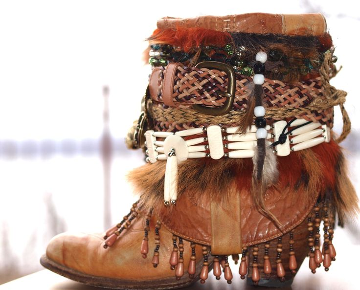 Upcycled boho cowboy boots by TheLookFactory on Etsy