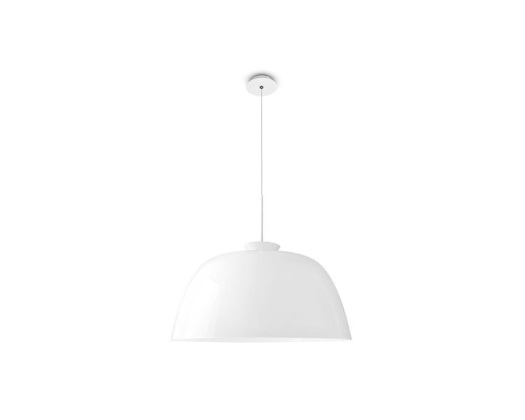 ARPÈGE model adjustable height suspension lamp. Hemi-spherical methacrylate diffuser. The ARPÈGE suspension lamp is equipped with a hemi-spherical diffuser in methacrylate, a material that is heat resistant and has a high light transmission coefficient. The height can be adjusted to the desired position using the metal wire.