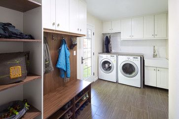 Niagara Laundry - contemporary - laundry room - denver - Design Platform  I like the sink and the hanging over the washer