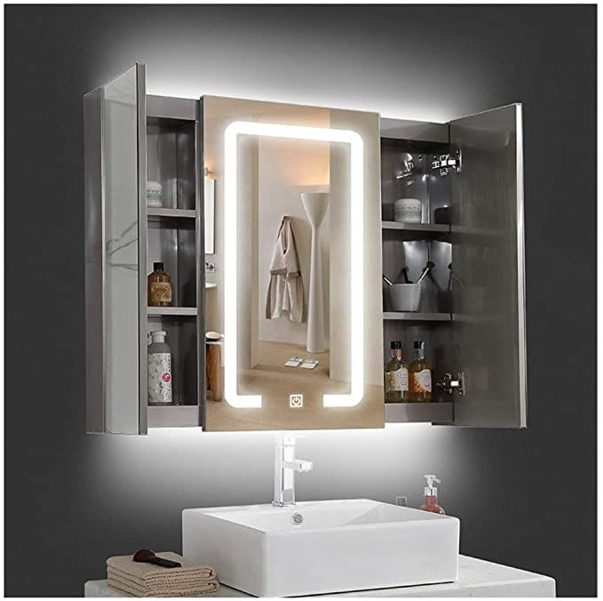 Rkrcxh Bathroom Cabinet Double Mirror Wall Illuminated Mirror Wall Bathroom Mirror Cabinet Mo In 2020 Mirror Cabinets Illuminated Bathroom Cabinets Led Mirror Bathroom