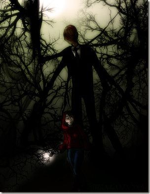 he slender man is believed to be a man dressed in a black business suit, like the ones worn in men in black, and is about 6 feet tall.