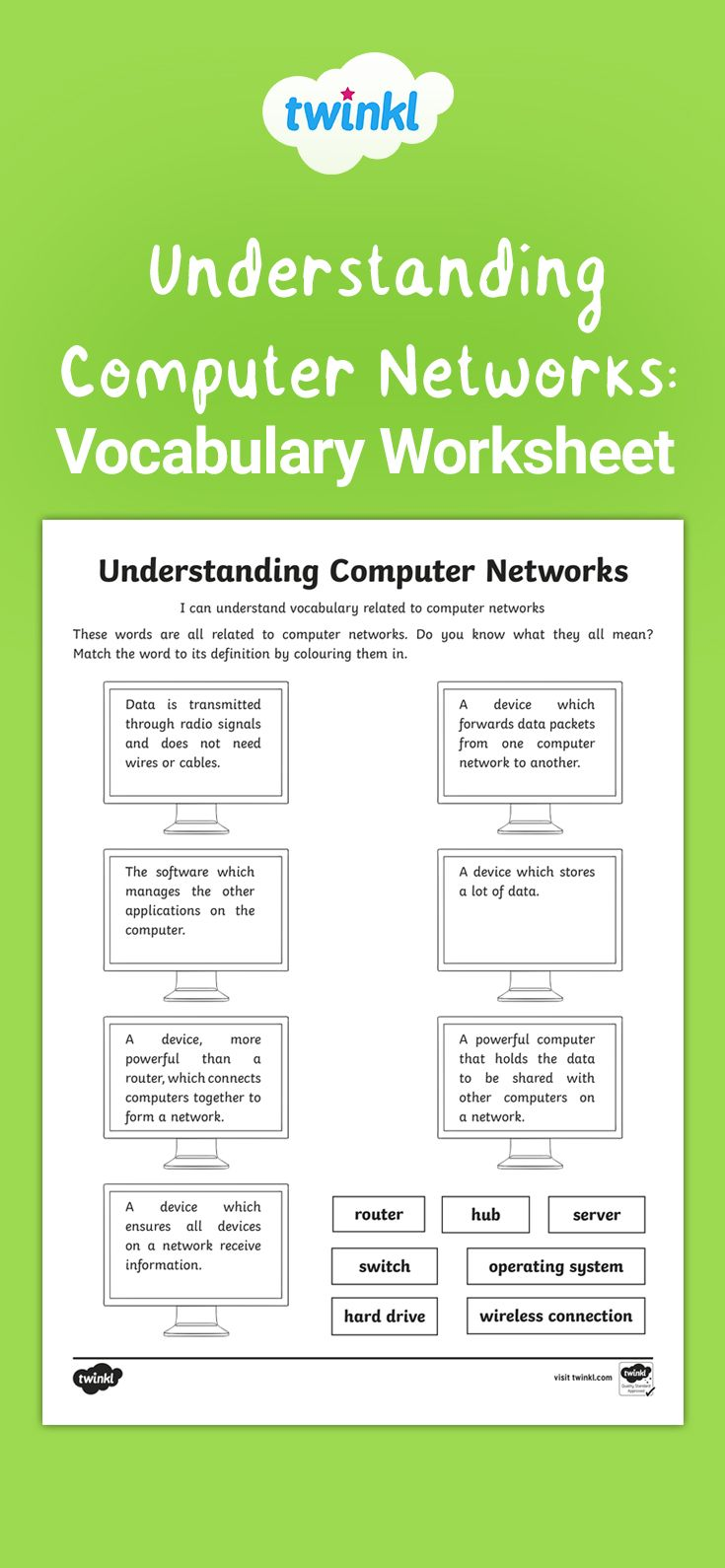 A useful worksheet for pupils to develop the vocabulary