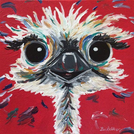 Ostrich art print from original canvas painting by HippieHoundUSA