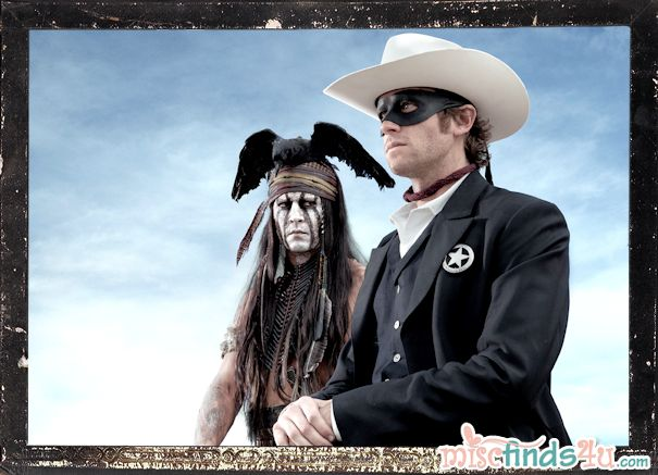 The very first official photograph from the upcoming movie, THE LONE RANGER, was  unveiled today by Disney/Bruckheimer Films' today.  Filming on this adventure film is going on currently in New Mexico.  Directed by Gore Verbinski (Rango), this new move stars Armie Hammer (Mirror Mirror) as the Lone Ranger and a very Gothic looking Johnny Depp (Pirates of the Caribbean franchise) as Tonto.
