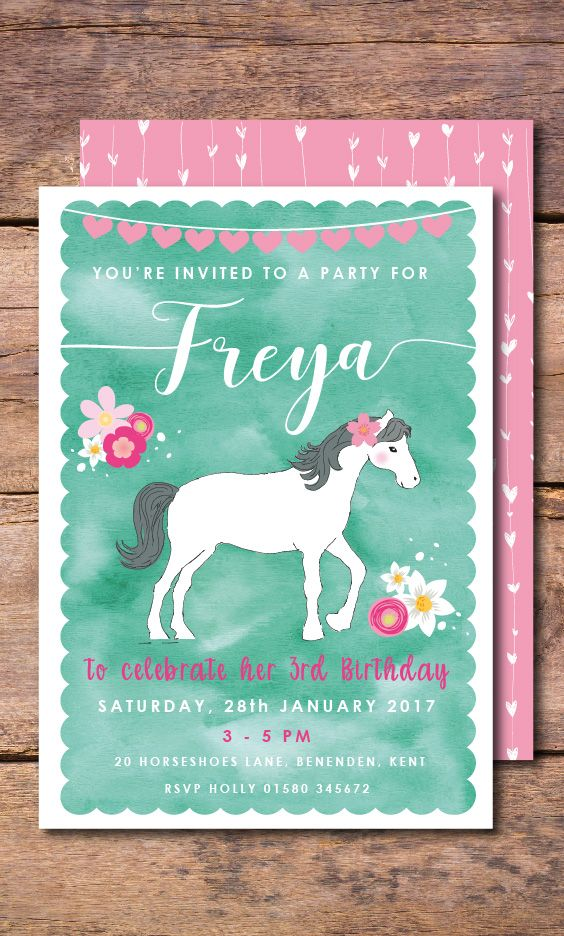 Trot on over to Abbey Gate Designs to see this beautiful Horse Birthday Invitation. Colours and wording can be fully customized on this Pony Invitation to suit your own Horse party theme