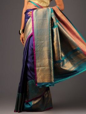 Turquoise-Violet Kanchipuram Silk Saree