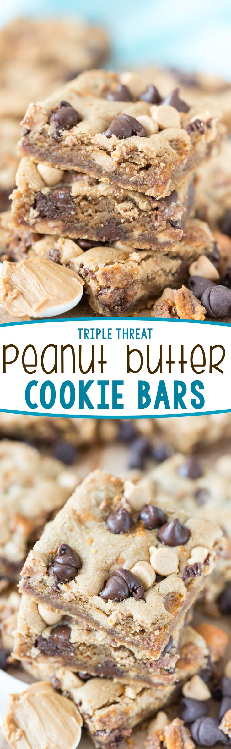 Triple Threat Peanut Butter Cookie Bars - this easy peanut butter cookie recipe…